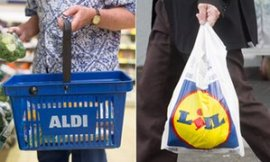 Aldi basket and Lidl bag