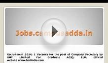 Recruitment 2014, 1 Vacancy for the post of Company